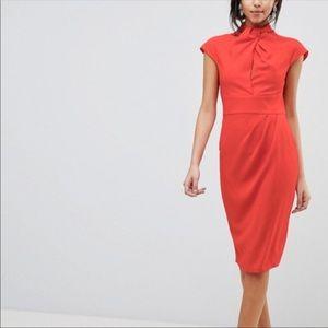 ASOS Twist Neck Keyhole Midi Dress 🍁🍂